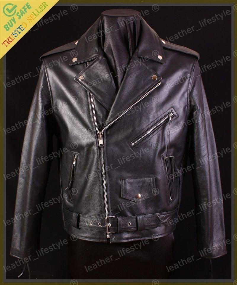 Mens Stylish Lambskin Genuine Leather Motorcycle Biker Jacket 47
