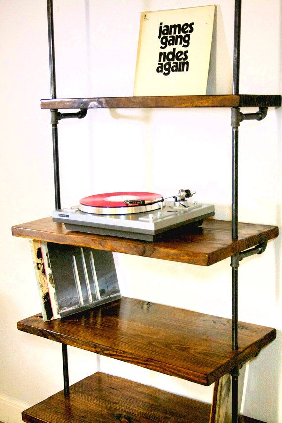 Industrial record shelf unit bookcase modern record for Turntable furniture