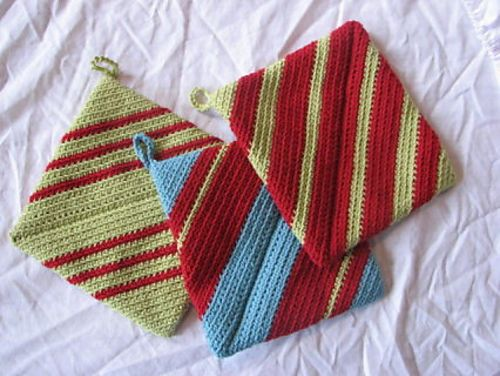 Ravelry Double Thick Diagonally Crocheted Potholder Free Pattern By