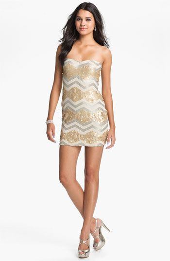 $68.00 As U Wish Zigzag Sequin Strapless Dress (Juniors) available ...