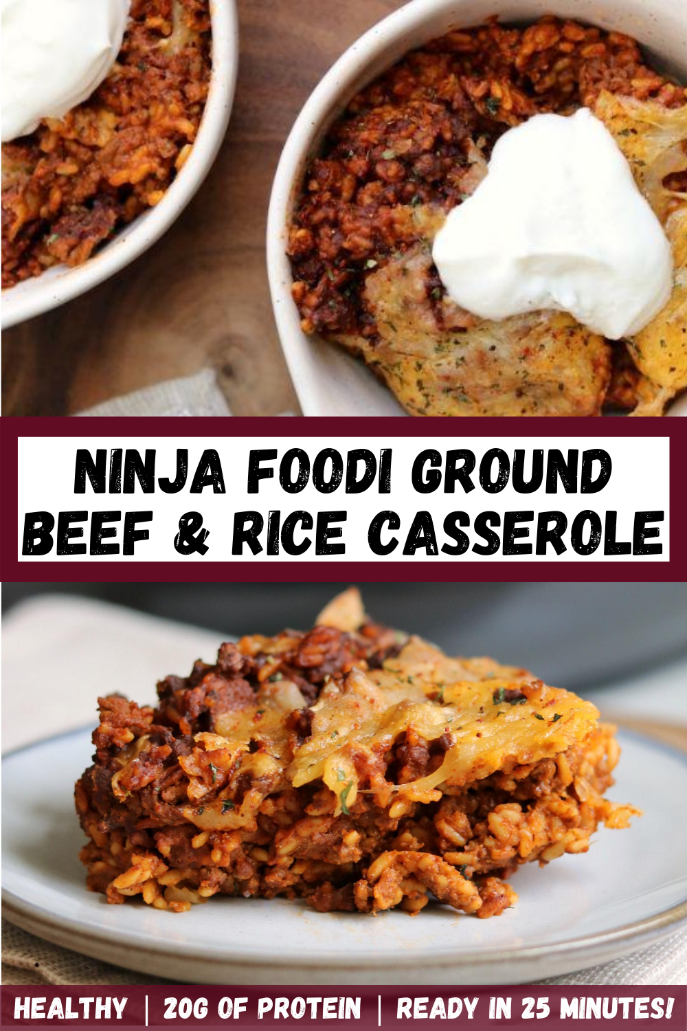Ninja Foodi Ground Beef And Rice Casserole In 2020 Ground Beef Recipes Healthy Beef And Rice Ground Beef Recipes Easy