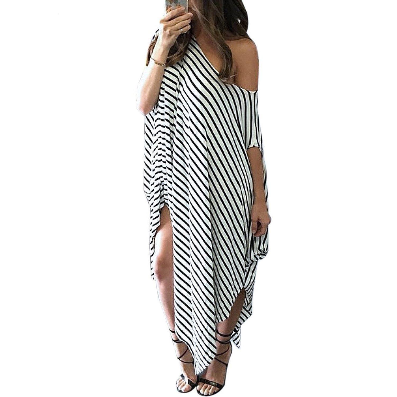 2016 Women Clothing Summer Dress Long Maxi Loose Dress Striped Batwing Sleeve Off Shoulder Split Casual Beach Wear Plus Size Vestidos Eg806 From Eglemall 3 01 Casual Beach Dress Striped Maxi Dresses [ 1500 x 1500 Pixel ]