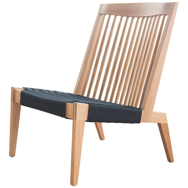 Marvelous Swift Easy Chair Modern Spindle Back White Oak And Rope Beatyapartments Chair Design Images Beatyapartmentscom
