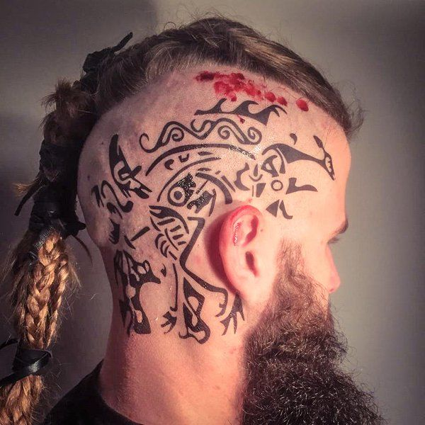 ragnar head tattoos google search tattoos pinterest tattoos head tattoos and viking tattoos. Black Bedroom Furniture Sets. Home Design Ideas