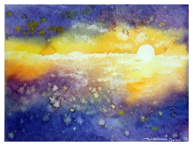 Sunset Light Original Watercolour Painting 7 X9 5 In 18x24 Cm