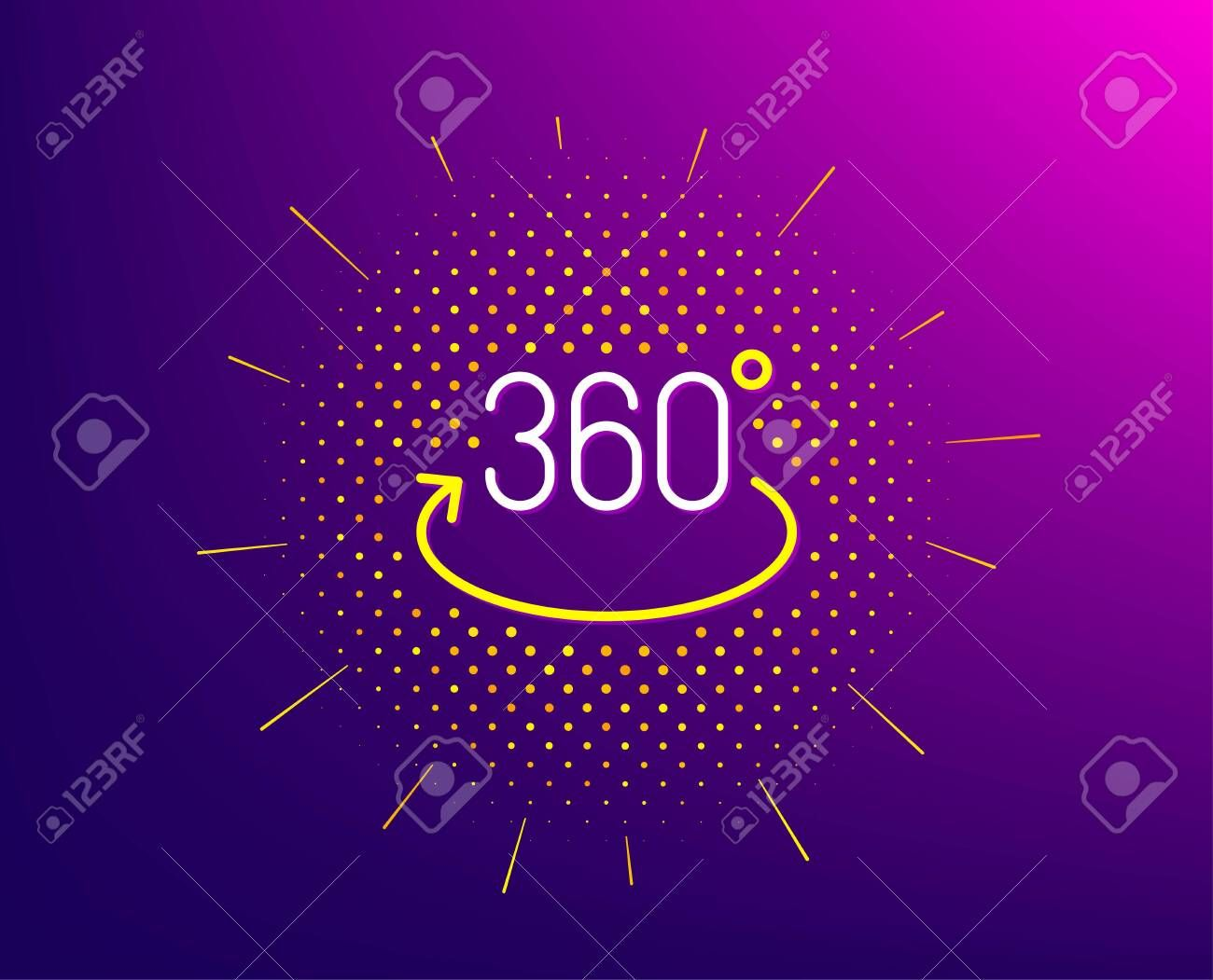 360 degree line icon. Halftone pattern. Full rotation sign