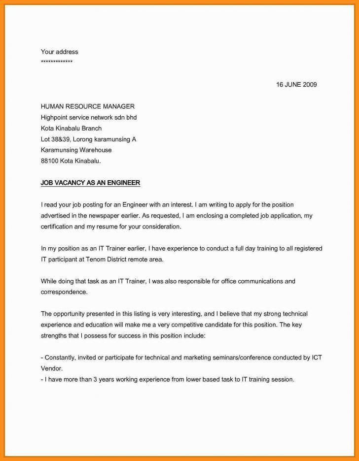 Simple Cover Letter For Job Application Application Letter