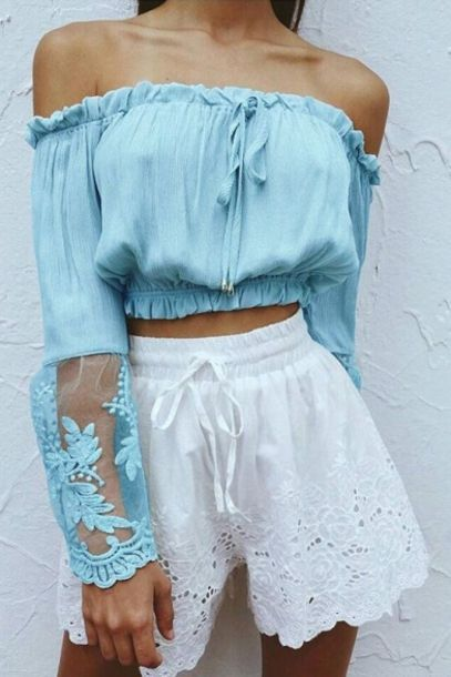 $20 Bright Blue Off The Shoulder Ruffled Tie Cropped Blouse With Floral Sheer Pattern Detail Summer Spring Top