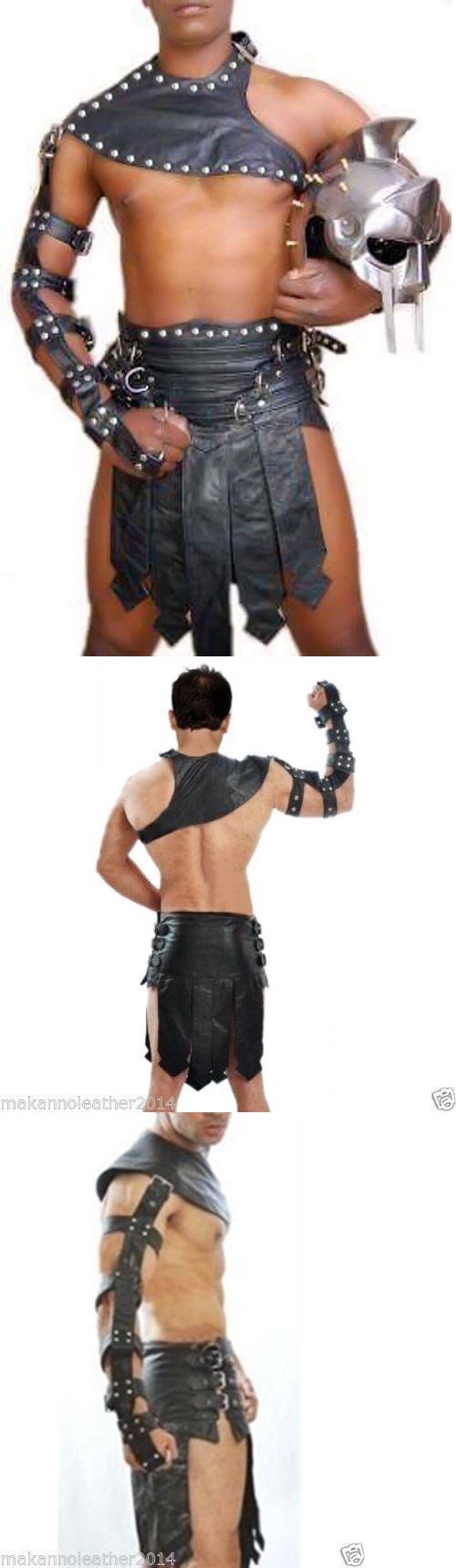 Real-Cow-Leather-3-Piece-Men-Kilt-Set-Gladiator-Roman-Kilt-LARP Halloween
