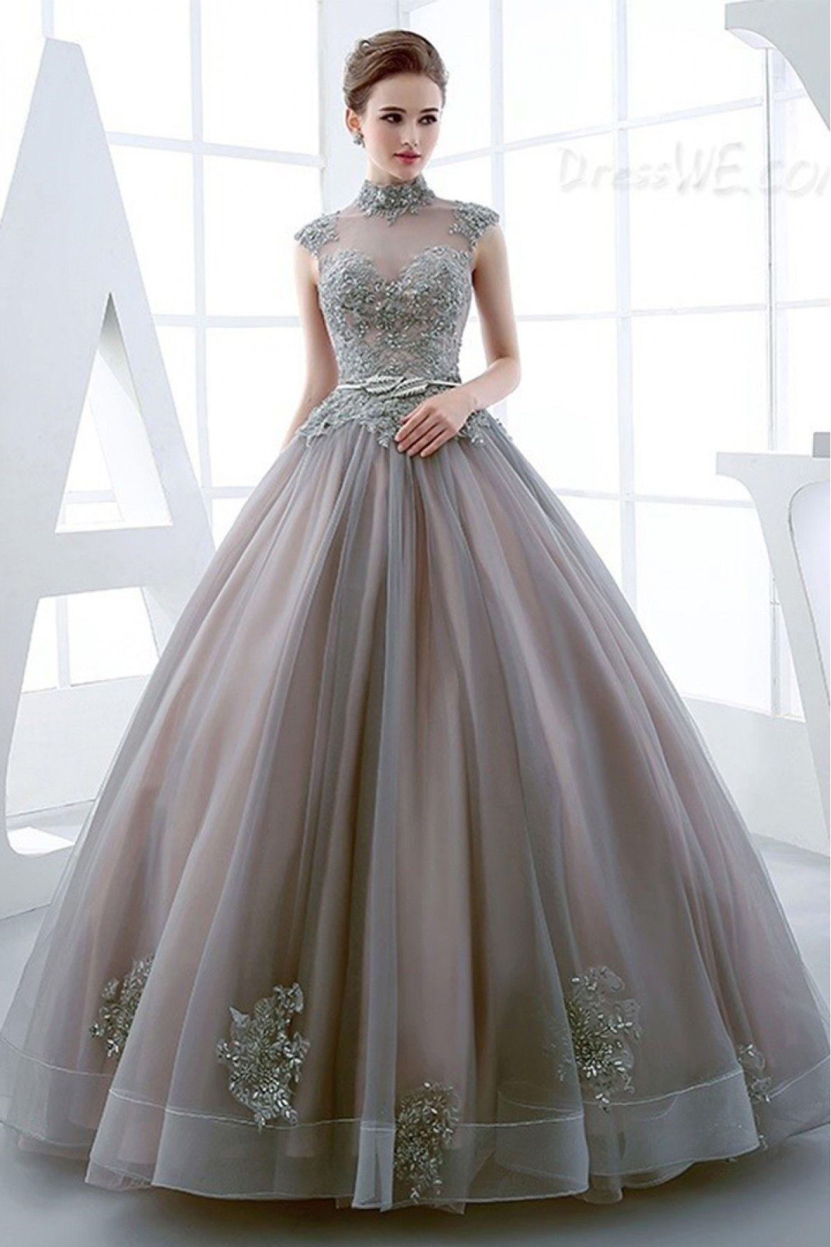 Buy Youdesign French Crepe Organza Gown In Grey Colour for women @  ninecolours.com.