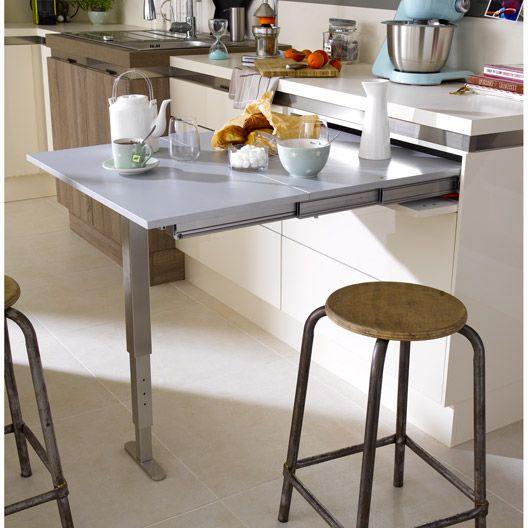 Table r tractable aluminium delinia 95 x 75 cm 300 leroy for Table cuisine retractable
