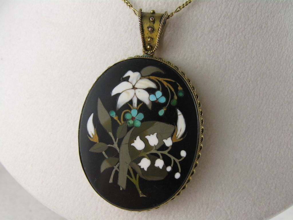Antique victorian large pietra dura snowdrops locket pendant antique victorian large pietra dura snowdrops locket pendant aloadofball Images
