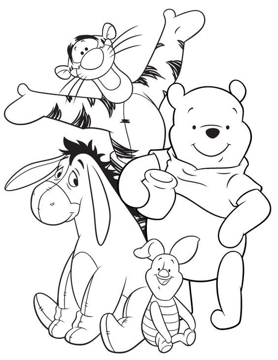 Eeyore Tigger Pooh And Piglet Coloring Page Cartoon Coloring Pages Disney Coloring Pages Cute Coloring Pages