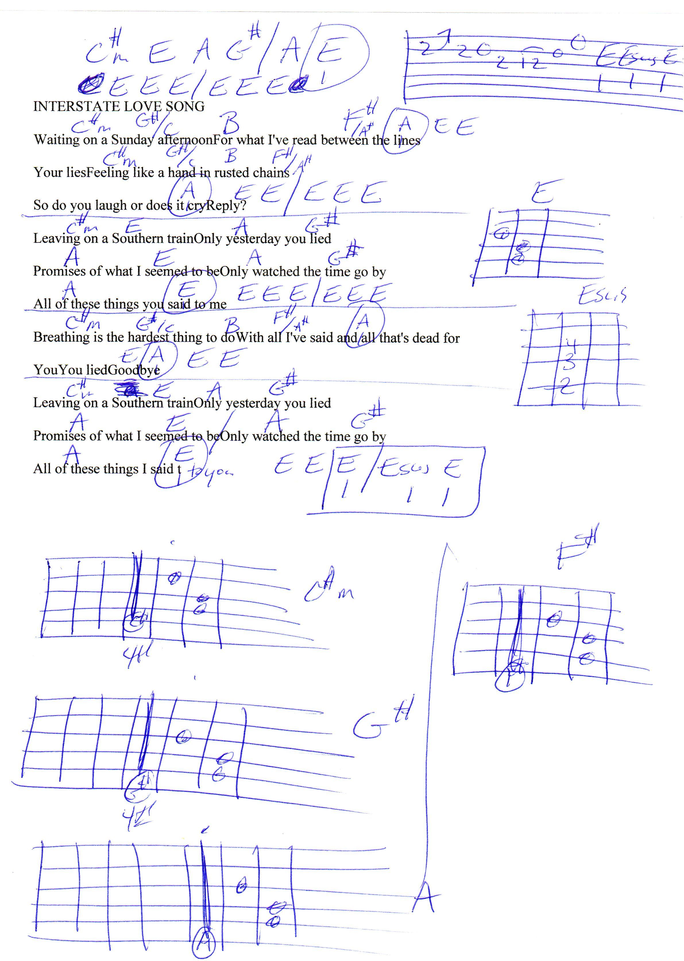 Interstate Love Song Stone Temple Pilots Guitar Chord Chart