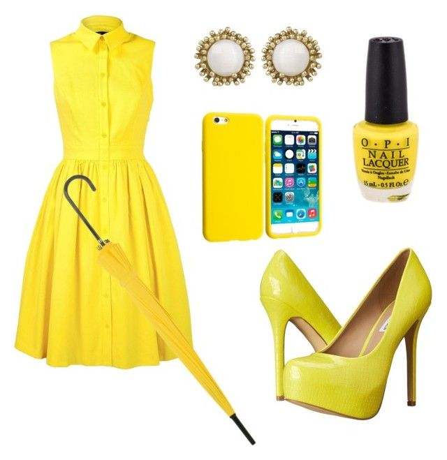 """""""Yellow"""" by trendsetter12 ❤ liked on Polyvore featuring Karen Millen, Kendra Scott and Steve Madden"""