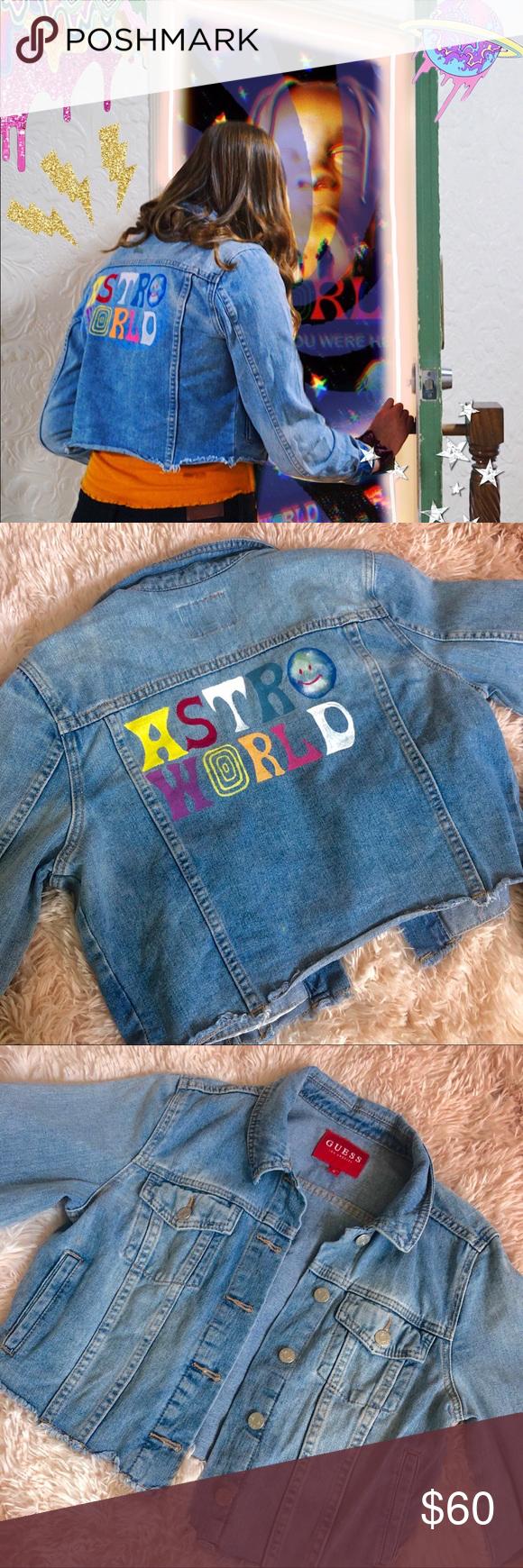 Guess Denim Jacket With Astroworld Design Painted Denim Painted Denim Jacket Hand Painted Denim Jacket [ 1740 x 580 Pixel ]