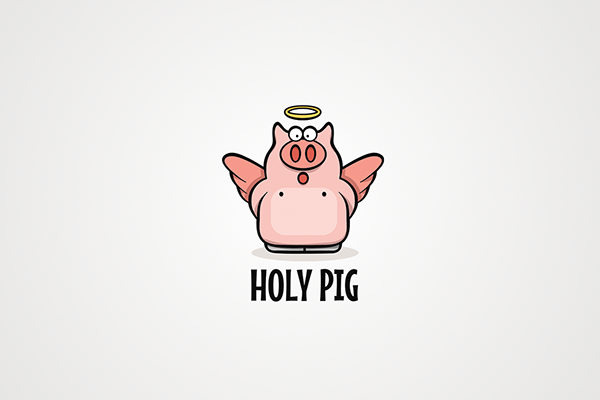 Holy Pig On Behance In 2020 Pig Logo Pet Clinic Pig