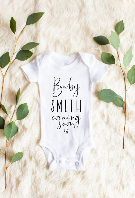 db3466f8d Personalized Last Name Baby Announcement Onesie, Pregnancy Announcement  Onesie, Baby Announcement On