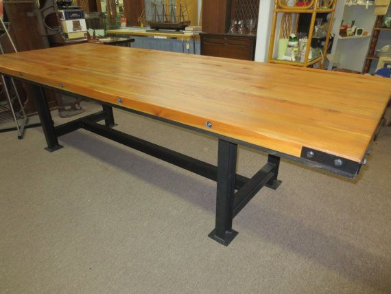 Rustic Butcher Block Table With I Beam Legs