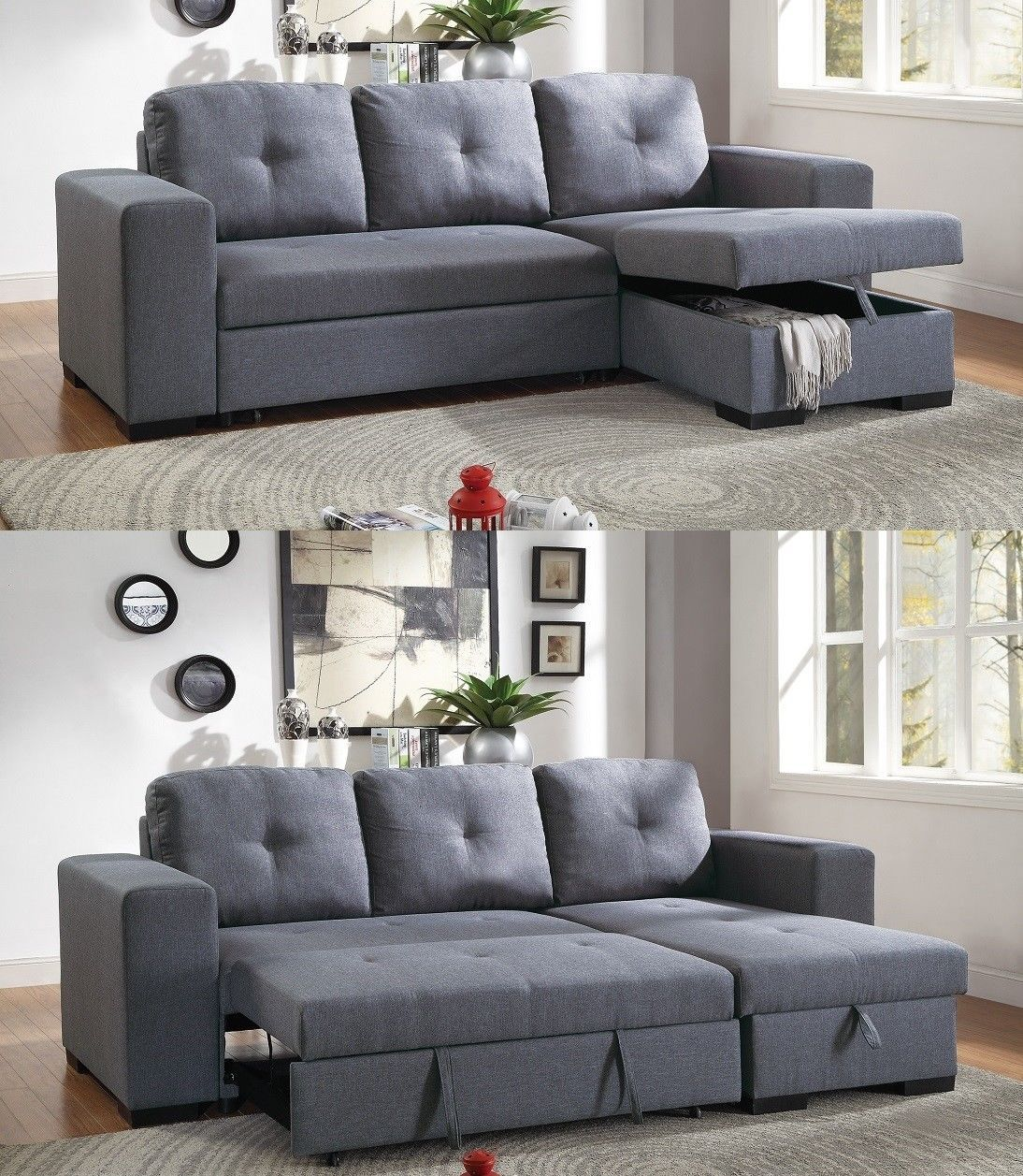 Blue Grey Sectional Sofa w Pull Out Bed Polyfiber ...