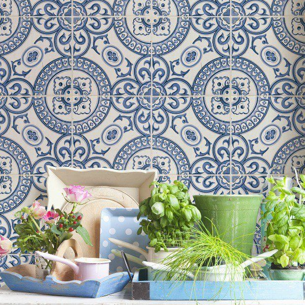 Mediterranean Style Faux Tile Wallpaper Tile Wallpaper Faux Tiles French Style Decor