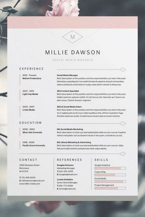 Millie Resume\/CV Template Word Photoshop InDesign - contacts template word