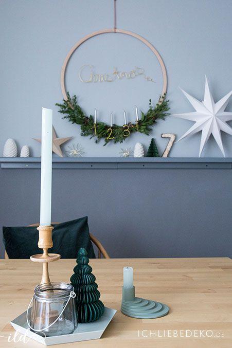 diy adventskranz aus eukalyptus und baumkerzen christmas. Black Bedroom Furniture Sets. Home Design Ideas