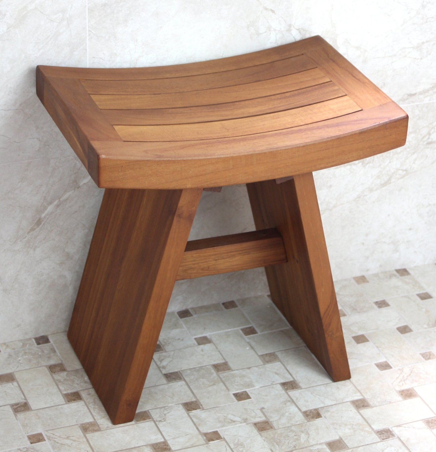 Bathroom Wooden Solid Teak Asian Shower Stool For Japanese