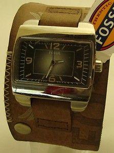 Wide Brown Leather Vintage Cuff Watch