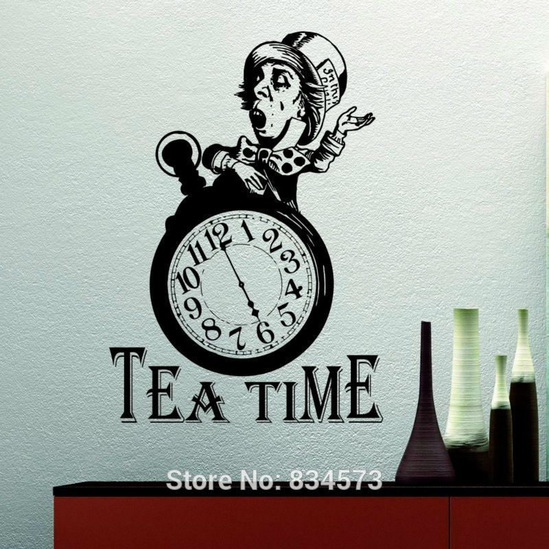 Alice In Wonderland Wall Decal Quote Tea Time Quotes Wall Decals Mad Hatter  Tea Party Stickers Tea Lover Gift Dining Room Kitchen Decor