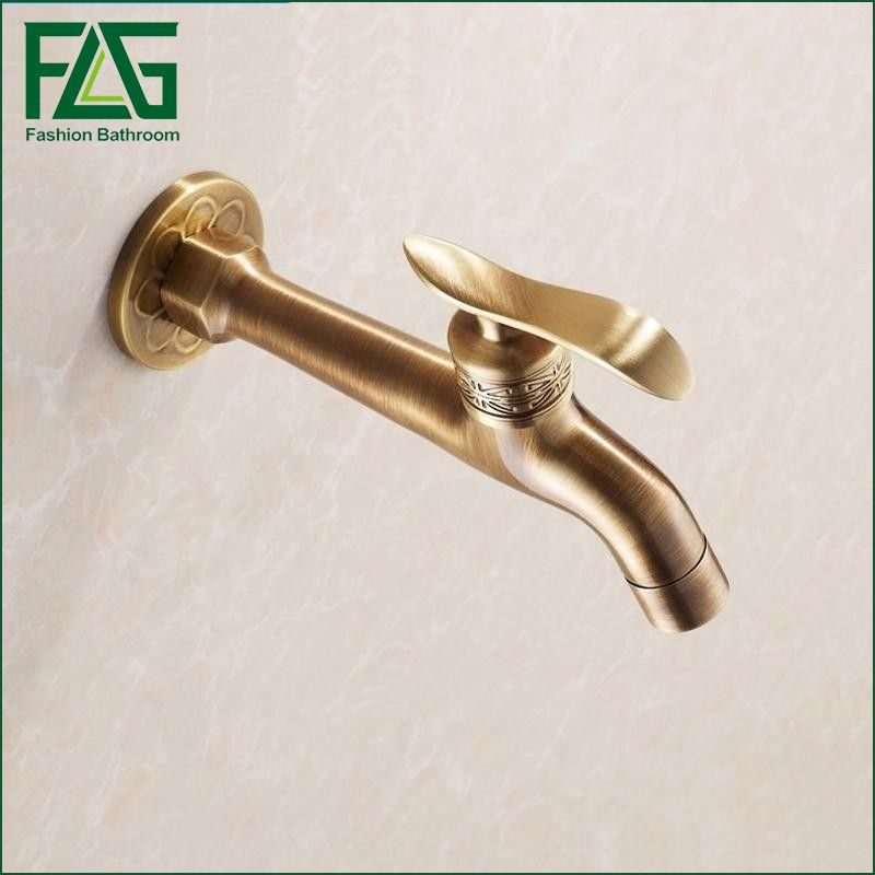2016 Long Garden Use Bib Faucet Tap Crane Antique Br Finish Bathroom Wall Mount Washing Machine