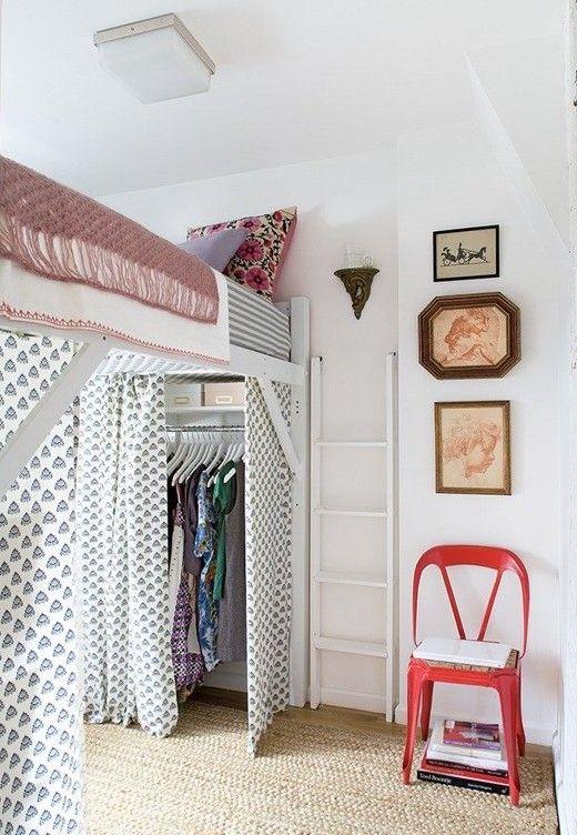 kleine wohnung einrichten mit hochhbett und gardienen_mehr funktionsplatz gewinnen durch loft bed mit kleiderschrank - Fantastisch Einrichtung Kleine Wohnung