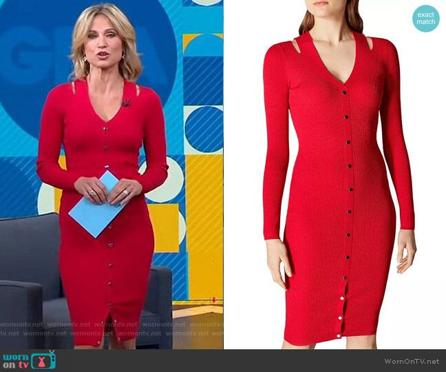 Amy S Red Button Front Cutout Dress On Good Morning America