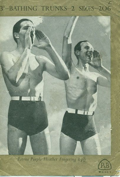 e97ce27cf4b95 vintage mens swim trunks knitting pattern | Vintage beach shots in ...