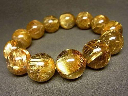 17MM 9A Natural Emperor Taichin Golden Rutilated Quartz Round Bracelet GIFT BL9c US $3,967.00