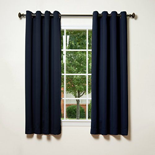 Best Home Fashion Navy Grommet Top Thermal Insulated Blackout Curtain 52W X 63