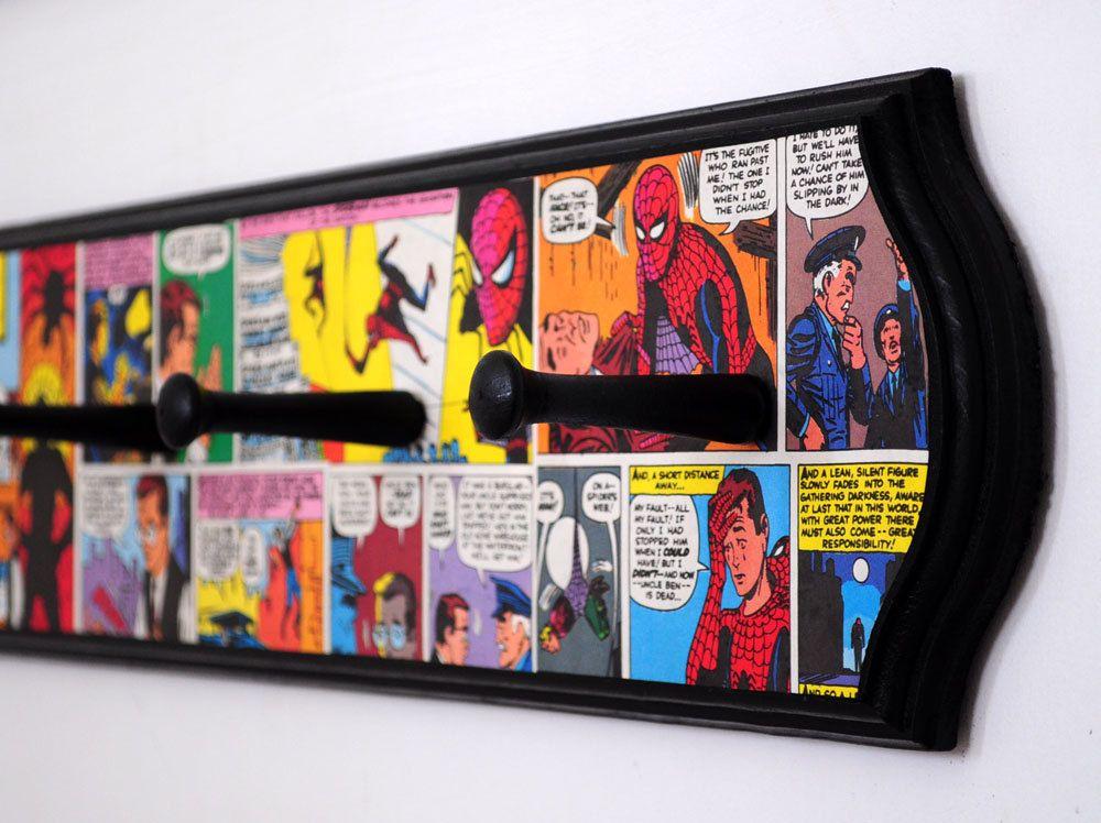 Vintage Spiderman Decoupaged Coat Rack   Superhero Comic Book Room Decor    37 00  via Etsy. Vintage Spiderman Decoupaged Coat Rack   Superhero Comic Book Room