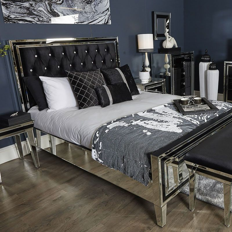 Mirror Bed Frame Furniture Mirrored Bedroom Furniture Mirrored