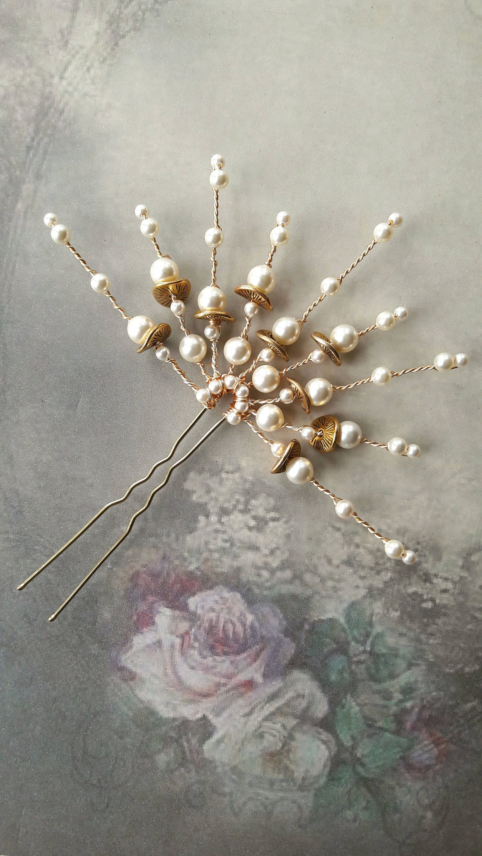 Deco style cream pearl fan wedding hair pin, Vintage style, bridal ...