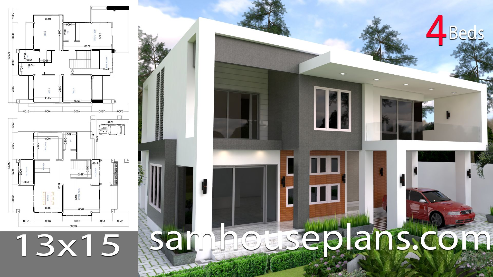 House Plans 13x15 With 4 Bedrooms House Plans Free Downloads 4 Bedroom House Plans House Plans Model House Plan
