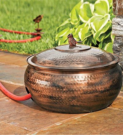 Hammered Copper Finish Hose Storage Bowl Winter Home