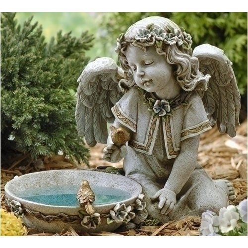 Small Angel Statues For Graves: Beautiful Little Angel With Solar Birdbath