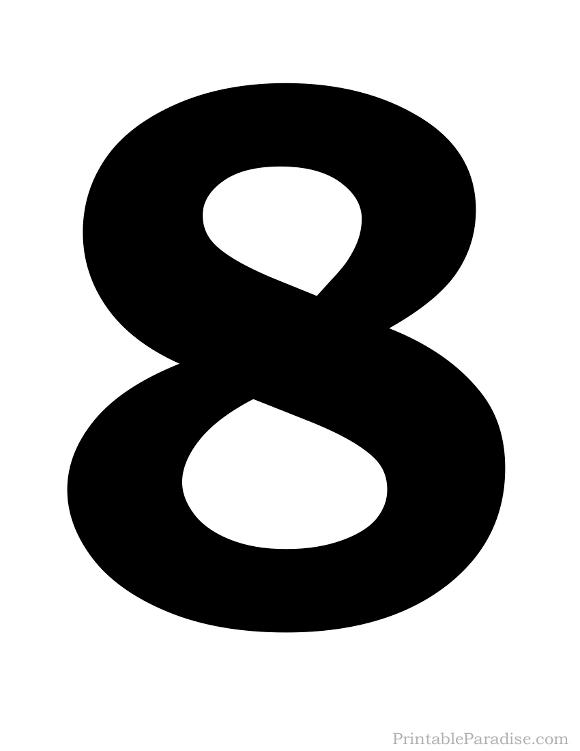 Printable Solid Black Number 8 Silhouette   Number ...