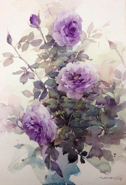 Phatcha Chan Peinture Fleurs Fleurs Peintes Aquarelle Fleurs