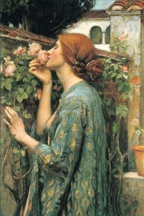 """""""And the soul of the rose went into my blood"""" (from Tennyson's 'Maud'). Painting by John William Waterhouse"""