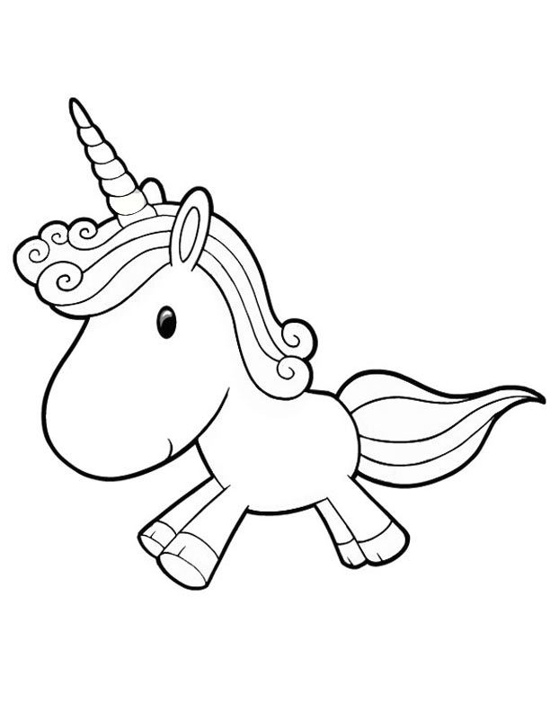 Cute Baby Unicorn Running Free Coloring Page For Preschoolers
