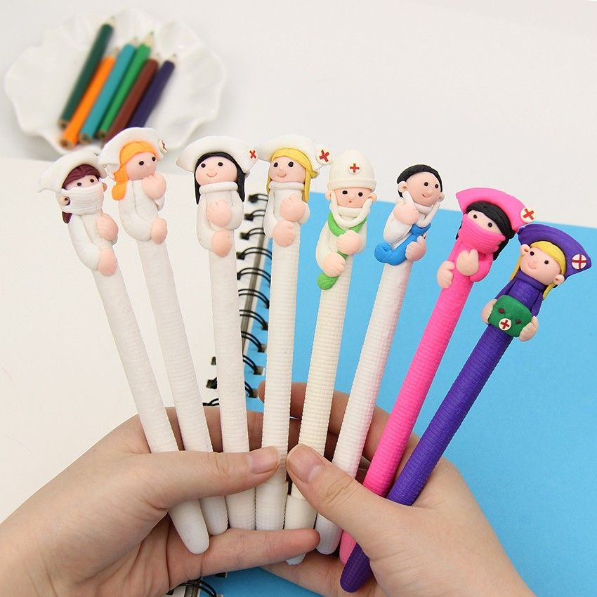 24 Pieces Doctor and Nurse Ballpoint Pens Novelty Cartoon Ballpoint Pens Cute Nurse Gifts Pens for Writing Stationery School Office Supplies