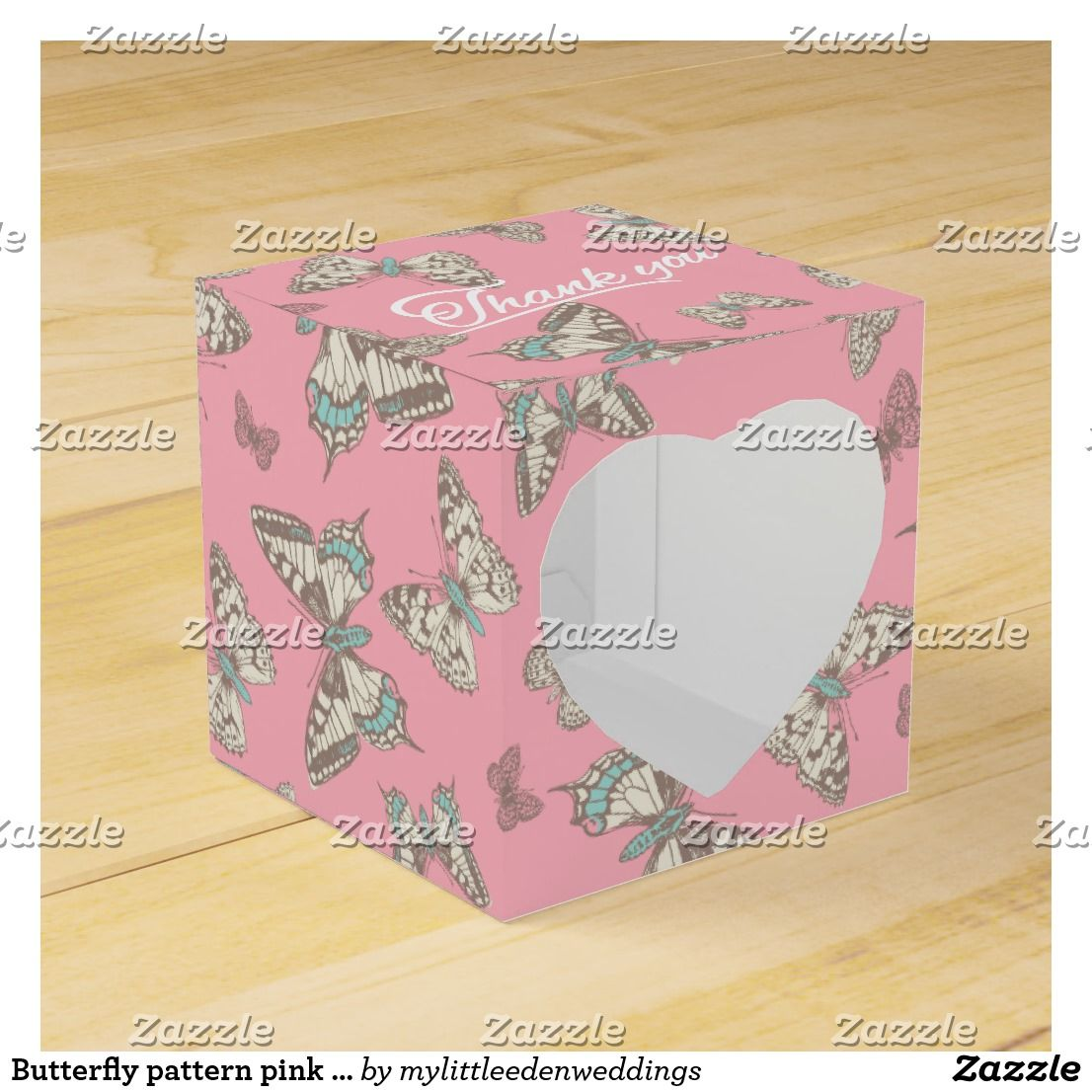 Butterfly pattern pink thank you wedding favor box | Wedding Favors ...