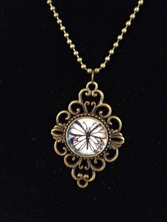 Vintage Pendant Tray Necklace-Black Butterfly on Etsy, $16.00