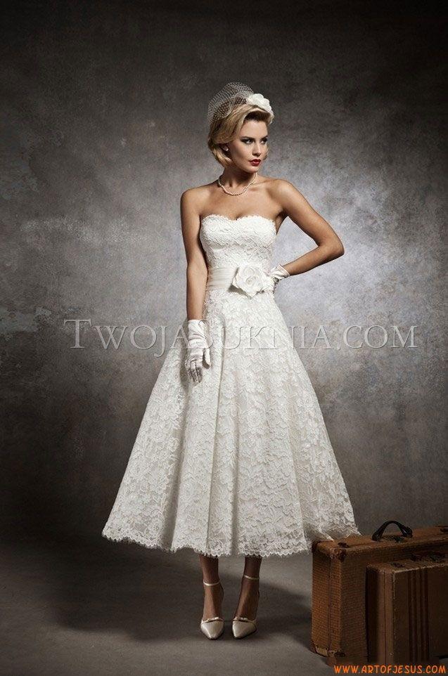 Süße trägerlose A-linie knöchellange Hochzeitskleider aus Spitze mit ...